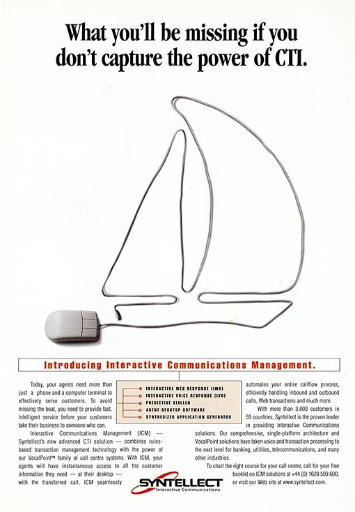 Here's a poster, again from the 1990's, advertising Syntellect (now part of Enghouse Interactive) CTI systems
