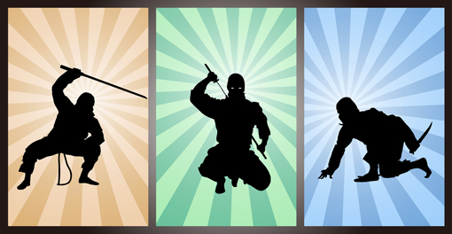 A series of three pictures of the silhouette of a ninja in 3 different poses