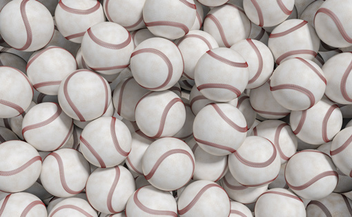 A big pile of baseball balls