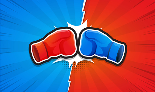 A red and a blue glove punch at each other, on the opposite coloured background