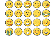 A group of emoji style faces