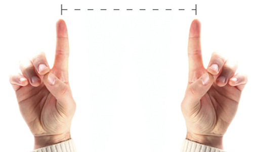measure between hands