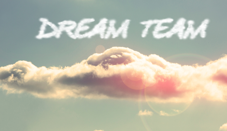 The words dream team are written in clouds