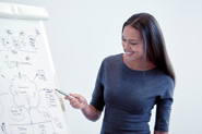 A happy woman points to a flipchart board