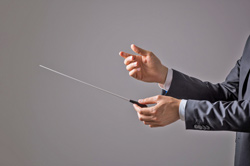 A person in a suit holding a conductors baton