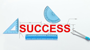 The word success is written in red, with a compass, a set square, protractor, and a ruler surrounding it