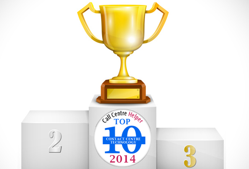 Trophy for first place in the Call Centre Helper top 10 contact centre technology 2014