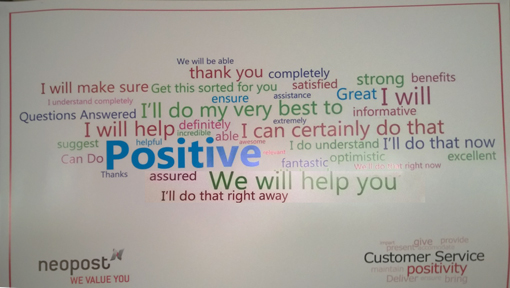 A wall in the Neopost contact centre, with positive words empathy and phrases on the wall.