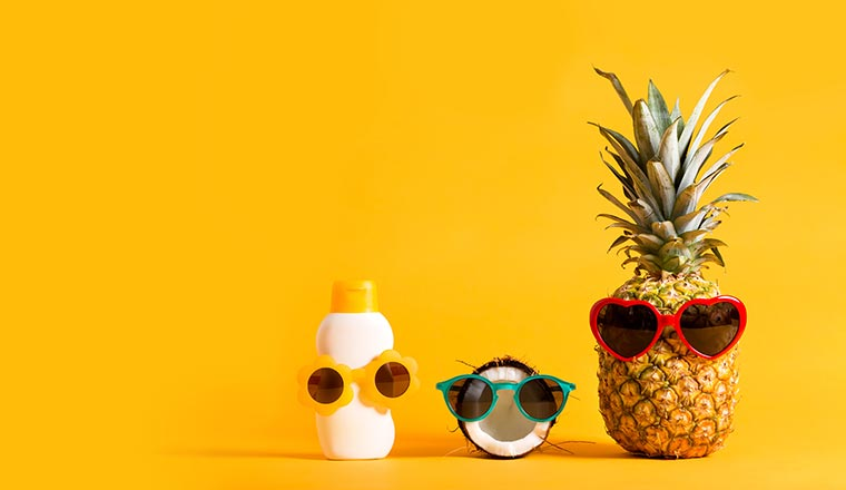 A picture of fruit in sunglasses