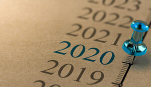A pin next to a timeline and year 2020