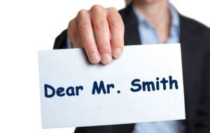 Card saying Dear Mr Smith