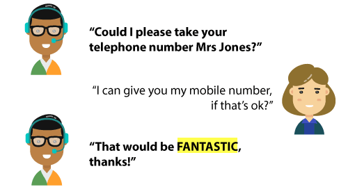 "An infographic demonstrating  an exchange between an agent and a customer: "" Could I please take your telephone number Mrs Jones?"", ""I can give you my mobile number is that's ok?"", ""That would be fantastic, thanks!"""