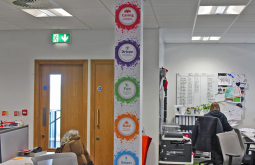 The walls of the AO contact centre have brightly coloured posters about the company values