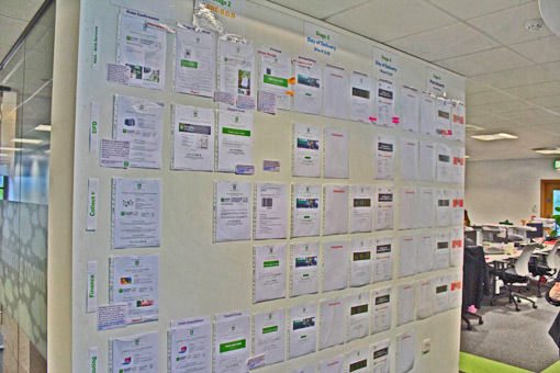 The wall of the contact centre displays the flow charts of customers journeys.