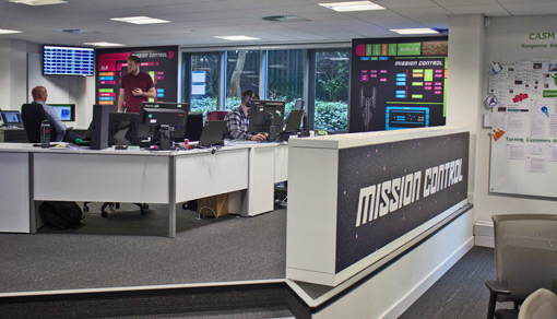 An area of the contact centre is called mission control, where small teams focus on key performance indicators that are displayed on the wall.