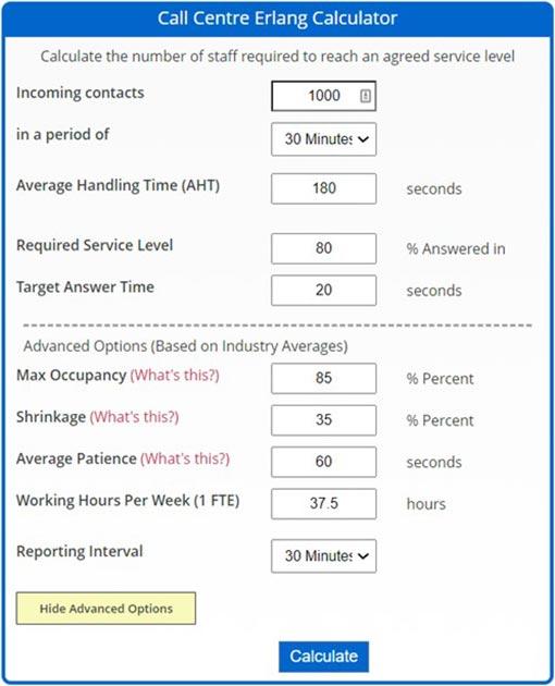 A screenshot of data being input into an Erlang Calculator