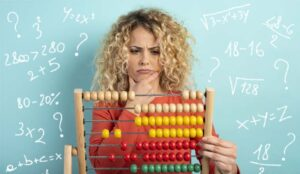 Girl with abacus on a cyan background