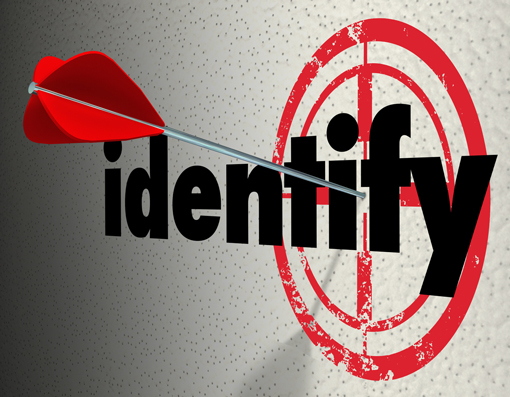 An image showing a red dart landed in the word identify