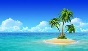 A small island with three palm trees on, is surrounded by light coloured water