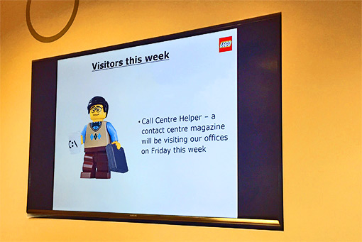 Here is a wallboard that we saw during our visit to Lego's contact centre