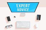 A computer screen reads 'expert advice'