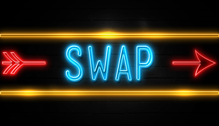 In neon lighting the word swap is between a red arrow