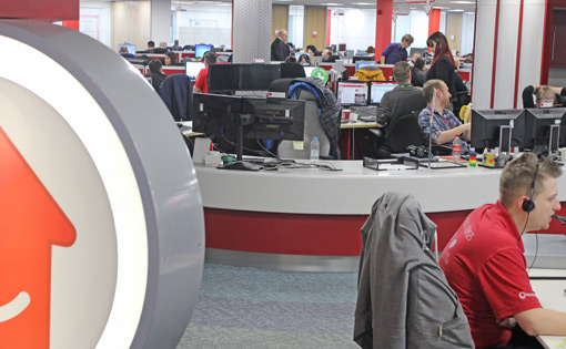 The pods blend in well with the rest of the contact centre floor