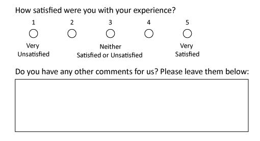 A picture of part of a CSAT survey