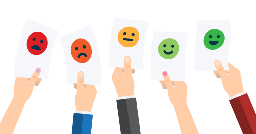 5 hands hold up pieces of paper with emotion faces on. The faces change colour from left to right from angry to happy, and from red to green