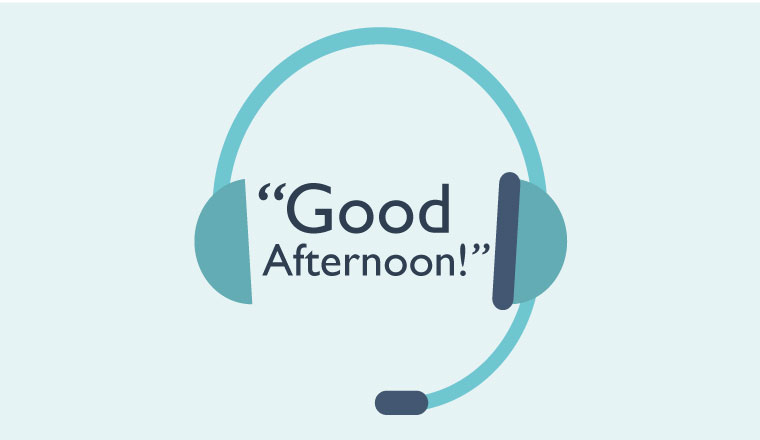 "A headset graphic has the words ""Good Afternoon!"" between the headpieces"