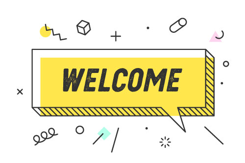 A yellow speech bubble with welcome written in it