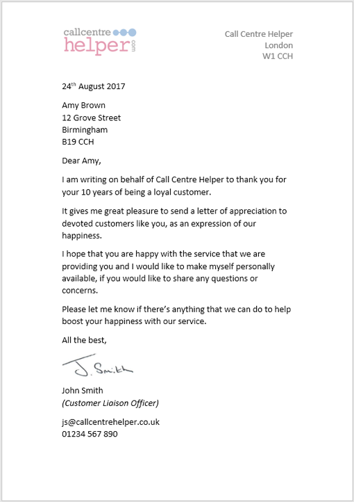 Best Thank You Letter from www.callcentrehelper.com