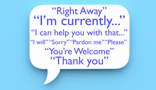 A white speech bubble on a light blue background, with courtesy words such as 'Right Away, I'm Currently, I can help you with that, I will, sorry, Pardon me, You're welcome, Please, Thank you