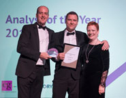 Mark Jobson picks up his Analyst of the Year award