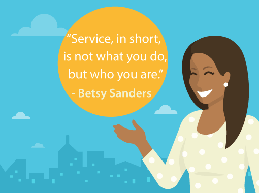A picture of a Betsy Sanders quote