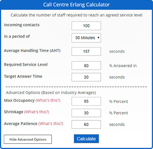 Here is an example of an Erlang Calculator with these details entered