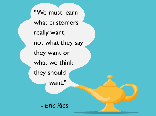 A picture of a Eric Ries quote