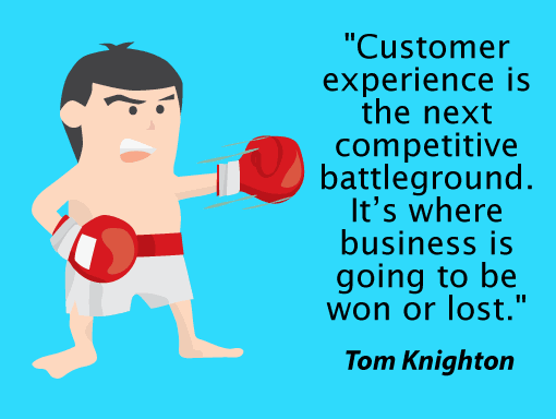 "A man in boxing attire with a quote from Tom Knighton: ""Customer experience is the next competitive battleground. It's where business is going to be won or lost."""