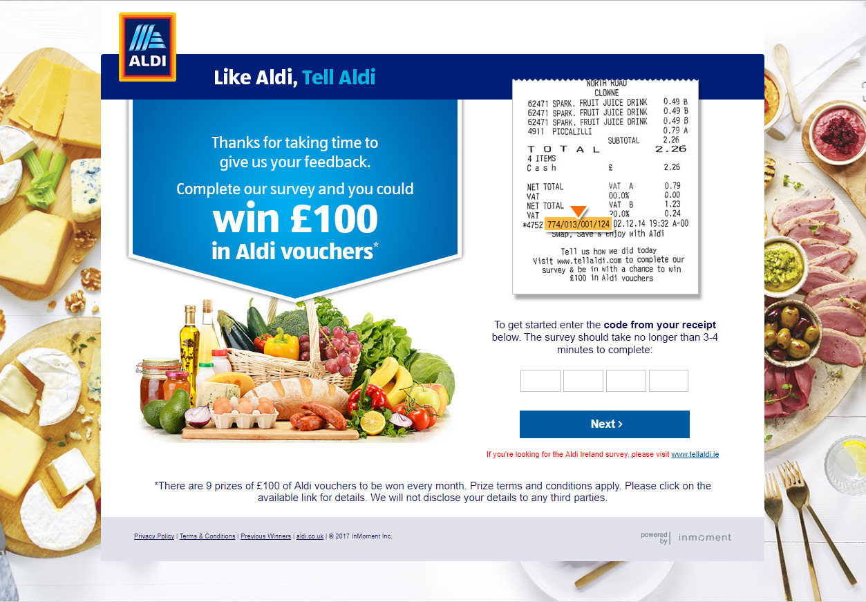 Here is an example of how Aldi incentivise the feedback process.