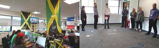The contact centre team play a game of plate discus, as teams represent different nations in honour of the Olympics
