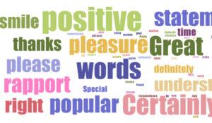 Positive statement words including: smile, positive, thanks, pleasure, great, understanding, right, rapport,please,popular, certainly, understanding
