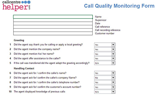 This is a screenshot of our call quality monitoring form, with clearly defined criteria!