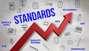An arrow moves from left to right, with words for the industry standards such as KPIS, metrics surrounding the arrow