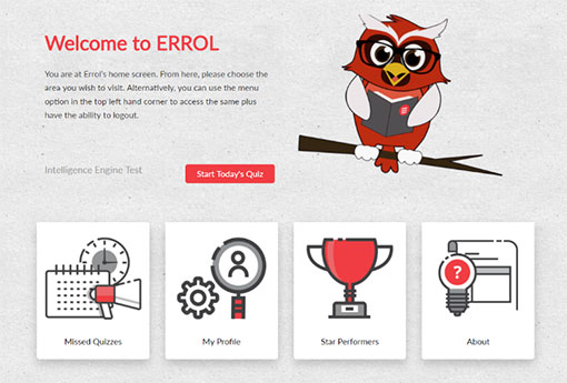 This is the home screen for the digital learning platform Errol Owl