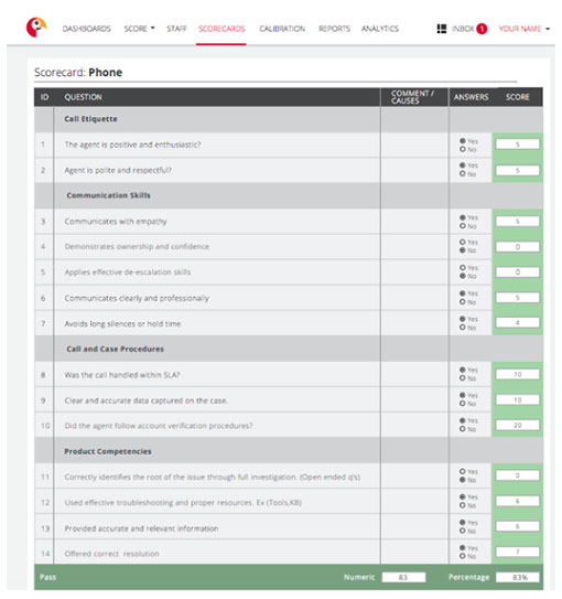 Example of a customer service phone QA scorecard