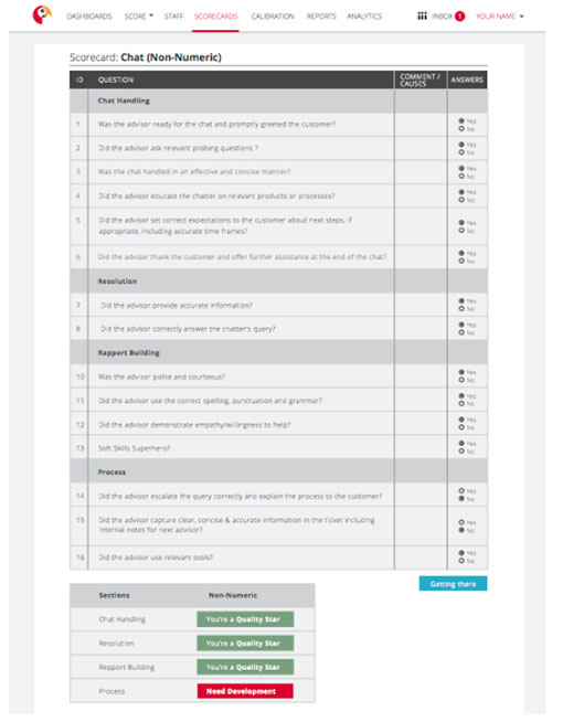 Example of a chat scorecard template