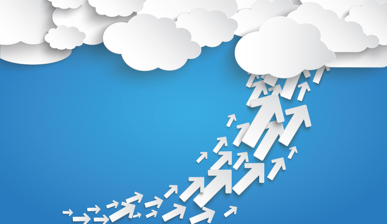 A group of white arrows lead to white clouds