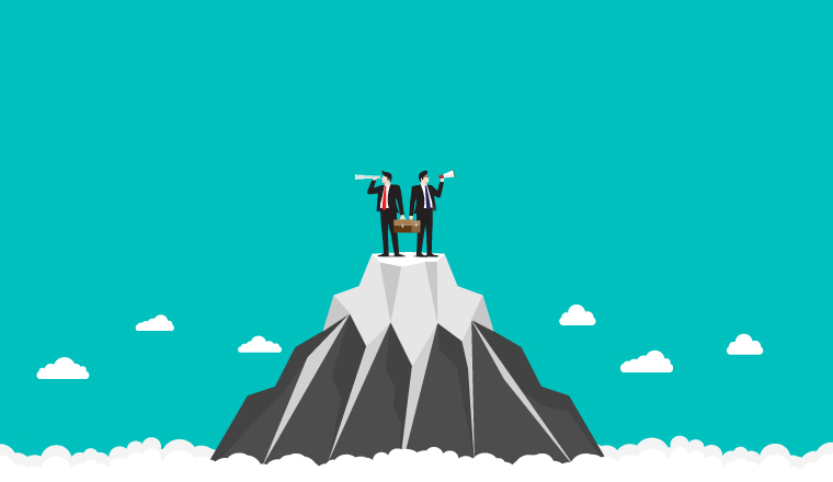 Illustration of two men with speaker phones on top of a mountain