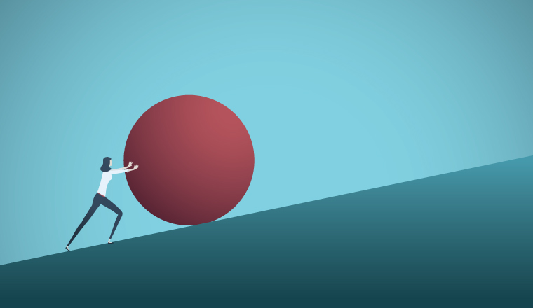 Cartoon woman pushing a red ball up a slope