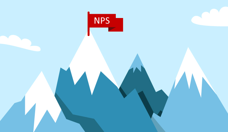A red flag on a tall mountain with NPS written on it